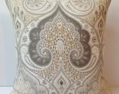Damask Pillow Cover Neutral Pillow Throw Pillow Beige Cushion Accent Linen KRAVET