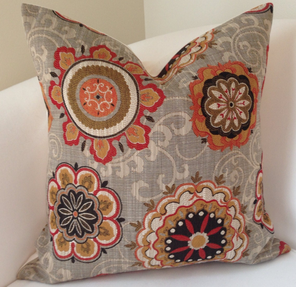 Decorative Throw Pillow Cover Suzani Pillow Brown Orange