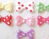 14 padded satin polka dot bow tie appliques EM-228 for layering on hair clips, scrapbooking, doll clothes and more