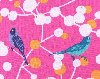 2398B -- Retro Bird and Berry Tree Fabric in Bright Pink, Beautiful Colorful Birds Fabric