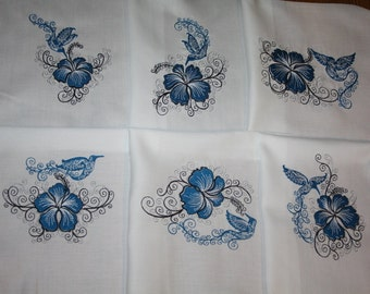 Blue Hummingbirds and Hibiscus Machine Embroidered Quilt Blocks Set A
