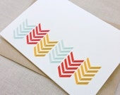 Multi-colored chevron blank folded note card {Set of 4}
