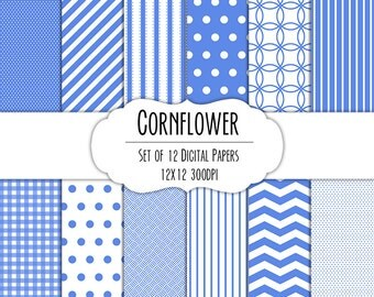 Cornflower Blue Digital Scrapbook Paper 12x12 Pack - Set of 12 - Polka Dots, Chevron, Gingham - Instant Download - Item# 8052