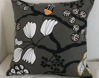 Gray Graphic Print Pillow Cover 18x18
