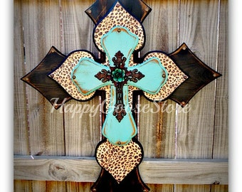 Wall CROSS - Wood Cross - X-Large - Antiqued Black & Turquoise with Leopard, iron cross, and turquoise iron rose