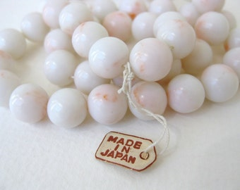 Vintage Japanese Beads Angelskin Coral White Blush Lucite Plastic 10mm vpb0057 (8 beads)
