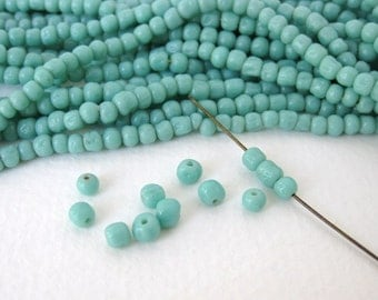Vintage Japanese Beads Cherry Brand Green Turquoise Glass Baroque Rounds 4mm vgb0693 (30)