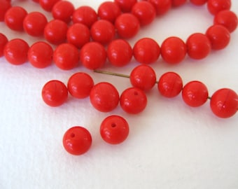 Vintage Japanese Beads Cherry Brand Bright Red Glass Rounds 8mm vgb0715 (10)