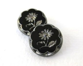 Vintage Flower Buttons Glass Silver Black Intaglio Czech 18mm but0195 (2)