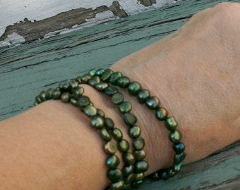 Olive Green Multi Strand Baroque Fresh Water Pearl Bracelet