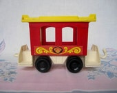 Vintage Fisher Price Little People Train Car . 1973 . Circus Passenger Car