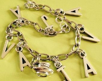 coffee lovers silver charm bracelet