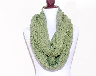 AMAZING Circle Scarf - LETTUCE GREEN - handmade crochet scarf, circle scarf, fall winter fashion, cowl neckwarmer shawl collar