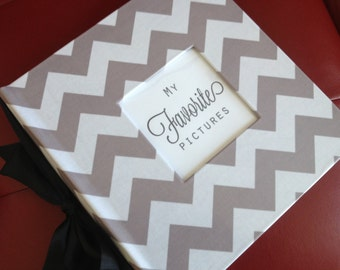 Chevron Photo or Recipe album - hand wrapped in a laminated Chevron fabric - pick your accent color