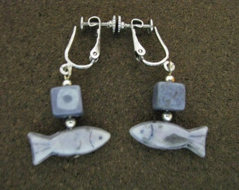 Cool blue vintage bead & fish screw back earrings with silver accents