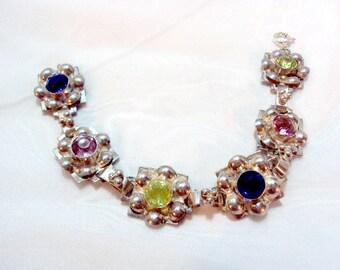 Vintage Sterling Silver Flower Link Bracelet by HOBE with Colorful Crystals