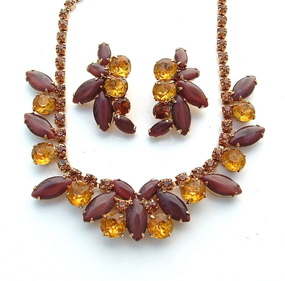 WEISS Rhinestone Necklace Earring Jewelry Set Golden Autumn Earth Topaz Citrine Amber Chocolate Glass Designer, FREE US Shipping