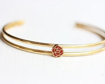 Rose Cuff Bracelet, Flower Cuff, Rose Bracelet, Flower Bracelet, Small Gold Cuff