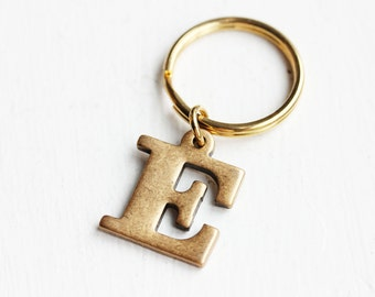 Brass Initial Keychain - a, b, d, e, h, i,  j, k, m, s, w