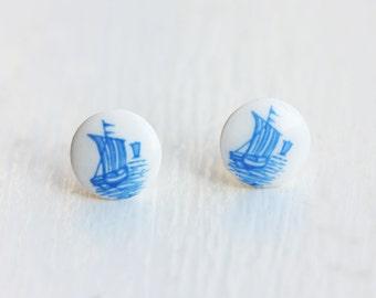 Ship Stud Earrings Blue, Scrimshaw Ship Studs, Round Blue Ship Earrings, Small Ship Stud Earrings=