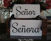 Senor and Senora Signs - MR and MRS CHaiR SiGnS - Rustic Wedding Signs - Rustic Wedding Signs - WeDDiNG PRoP - 11 X 5 - Distressed