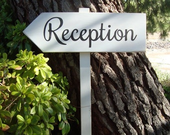 ReCePTioN SiGn - Directional Wedding Arrow SIGN - Vintage Woodland Wedding Sign - 2ft Stake - White Wash Finish
