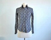 Vintage 1980s Scarf Print Blouse Shirt Chains and Buckles