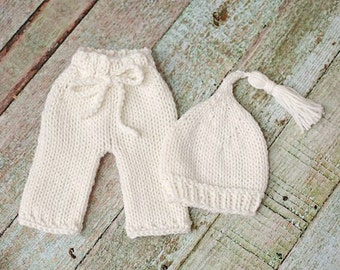 Baby Pants and Pixie Hat Set - newborn photo prop