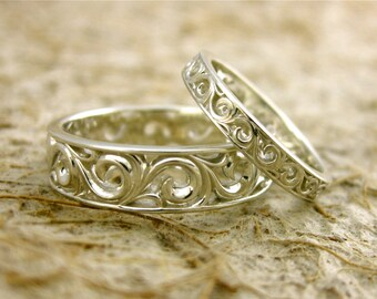 Sterling Silver Spiral Wedding Rings with Glossy Finish Sizes 12 & 6