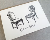 His and Hers Vintage Chairs Greeting Card for Wedding, Anniversary or Love