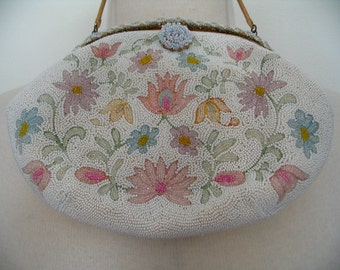 Exquisitely Beaded Mid Century French Pastel Floral Purse