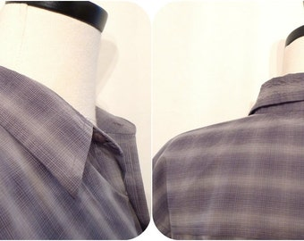 VTG 80s Grey Plaid ShortSleeved Oxford Shirt / Windowpane// 80s Does 50s Top