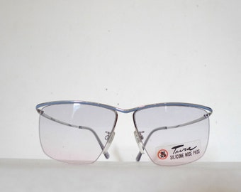 Designer Vintage Semi Rimless Eyeglass Frame NOS Vintage EyeGlasses / Chrome / Pale Blue  / Mod  / Tura Larger Metal Sunglasses