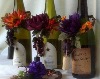 set of 4 Wine Bottle toppers Centerpieces Made in Michigan Bridal shower AmoreBride Vineyard Wedding accessories Winery autumn Event fall