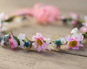 silk Flower crown hair wreath teal pink Hippie daisy headband bridal wedding accessories headpiece silk floral little girl halo photo prop