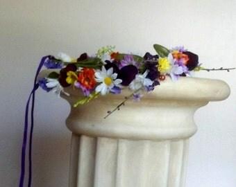 Tropical Bridal Headress Flower crown Purple Hair Wreath Summer Destination Wedding Accessories floral garland bridal halo Music festivals