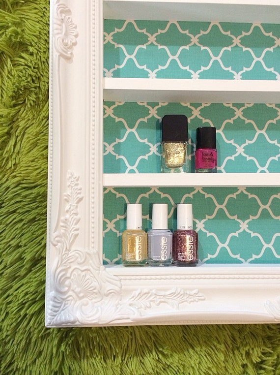 Baroque aqua nail polish display by daintycreations on etsy for Better homes and gardens baroque wall mirror