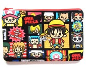"Pencil/Cosmetics Case  - ""One Piece"" in black frame, Anime, Luffy, Nami, Chopper Zoro, Sanji, Franky, Robin, Usopp, Brook, pirate"