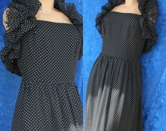 Vintage 70s 1970s Lilli Diamond Polka dots Halter Prom Hippie Maxi Dress Dotted Swiss Light Sheer Ruffled Small