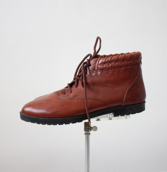 vintage leather lace up hiking boots by 1919vintage on etsy