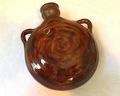 Small Ceramic Hand Made Glazed Flask