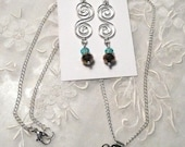 Set of Silver Turquoise and Brown Faceted Earrings and  Necklace