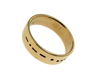 14K Gold Personalized Wedding Band Hand Stamped Date Names Vows Custom His and Her Rings Engraved Artisan Handmade Fine Designer Jewelry