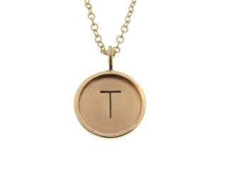 Solid Gold Initial Charm Necklace Hand Stamped 14K Rimmed Pendant Personalized Custom Engraved Artisan Handmade Designer Fashion Dad Jewelry