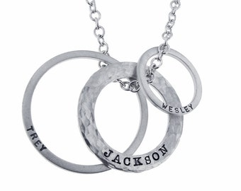 Sterling Silver Open Circle Necklace Hand Stamped Family Name Washer Charms Mommy Jewelry Personalized Custom Engraved Artisan Handmade Fine