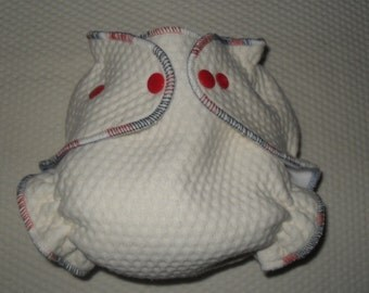 Zorb 2 Fitted diaper with rocket pop thread and red snaps