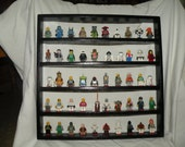 Handcrafted Solid Pine Gloss Black Paint, 50 spot  Legos Minifigure  Display Shelf w/ Red round 2x2 Legos plates