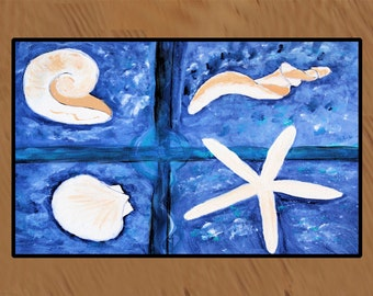 Sea shells  indoor outdoor 20 oz loop Floor Mat from my original art
