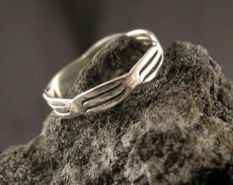RING STERLING SILVER  4 mm wide twisted lines,Cast lost wax method, oxide makes detail stand out, High Shine,(2) 6 1/2,(2) 6 3/4, 7