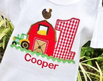 Farm  Birthday Shirt, Barnyard Birthday, Boys Barn Shirt, Tractor Shirt, Boys Barn Themed Birthday, Boys Barn Shirt